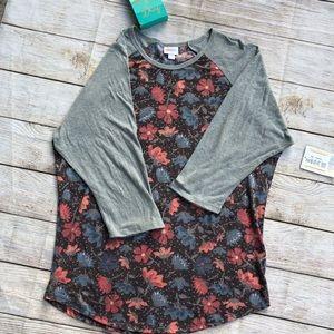 NWT Randy 2XL shirt-flower pattern w/gray sleeves